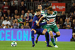 League Santander 2017/2018. Game: 05.<br /> FC Barcelona vs SD Eibar: 6-1.<br /> Gerard Pique vs Uniu.