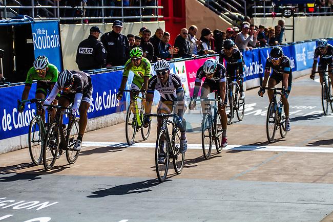John DEGENKOLB (GER, GIA) sprints to second place just in front of Fabian CANCELLARA (SUI, TFR) - Paris-Roubaix - 13th April 2014 - Photo by Thomas van Bracht / Peloton Photos