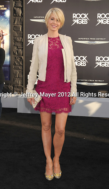 HOLLYWOOD, CA - JUNE 08: Jenna Elfman arrives at the 'Rock Of Ages' - Los Angeles Premiere at Grauman's Chinese Theatre on June 8, 2012 in Hollywood, California.