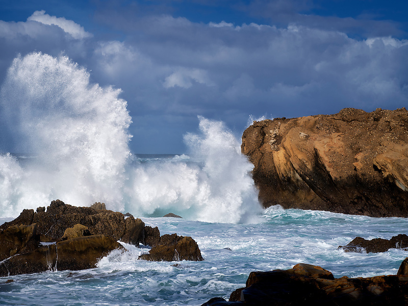 Coastline with crashing waves. Point Lobos State Reserve. California