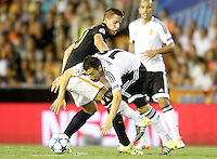 Valencia's Javi Fuego (r) and AS Monaco FC's Mario Pasalic during Champions League 2015/2016 Play-Offs 1st leg match. August  19,2015. (ALTERPHOTOS/Acero)