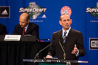 MLS  Commissioner Don Garber at the podium during the first round of the MLS SuperDraft at the Indiana Convention Center, Indianapolis, IA, on Jan 12, 2007.