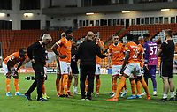 Blackpool manager Simon Grayson chats with his players before the shootout<br /> <br /> Photographer Kevin Barnes/CameraSport<br /> <br /> The Carabao Cup First Round - Blackpool v Macclesfield Town - Tuesday 13th August 2019 - Bloomfield Road - Blackpool<br />  <br /> World Copyright © 2019 CameraSport. All rights reserved. 43 Linden Ave. Countesthorpe. Leicester. England. LE8 5PG - Tel: +44 (0) 116 277 4147 - admin@camerasport.com - www.camerasport.com