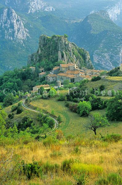 Hillside Village of Rougon above Grand Canyon of Verdon, Haute Provence, France, AGPix_0201.