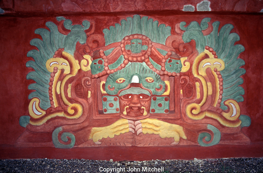 Murals on the exterior of the Rosalila Temple replica in the Copan Sculpture Museum , Copan, Honduras