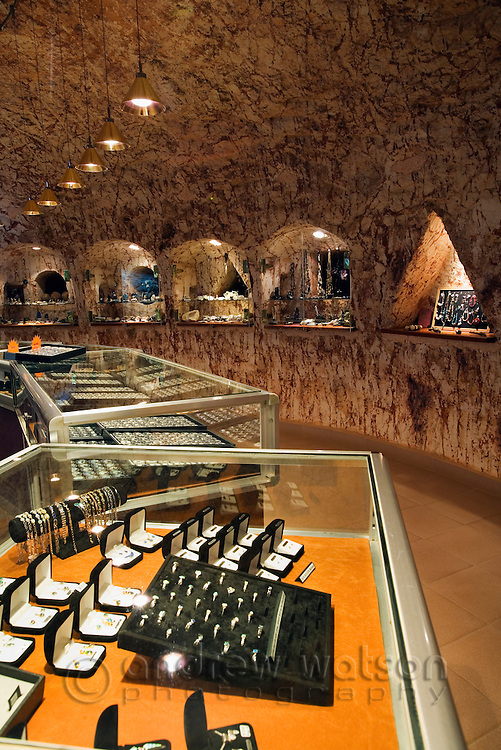 Underground jewelry shop in Coober Pedy.  The outback town is known as the opal capital of Australia.  Coober Pedy, South Australia, AUSTRALIA.