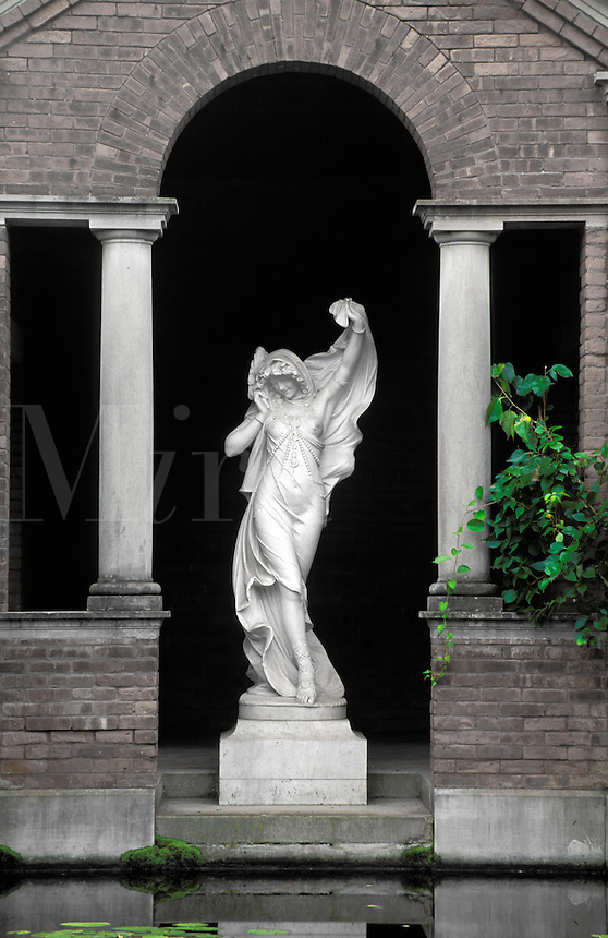 Statue of woman standing in brick archway, Vanderbilt Mansion National Historic Site, Hyde Park, Dutchess County, New Yor