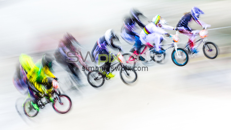 Picture by Alex Whitehead/SWpix.com - 10/04/2016 - Cycling - 2016 UCI BMX Supercross World Cup Manchester - National Cycling Centre, Manchester, England - Riders in action.