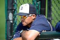 Detroit Tigers coach Mike Rabelo watches from the bullpen during a Spring Training game against the Atlanta Braves at Joker Marchant Stadium on February 27, 2013 in Lakeland, Florida.  Atlanta defeated Detroit 5-3.  (Mike Janes/Four Seam Images)