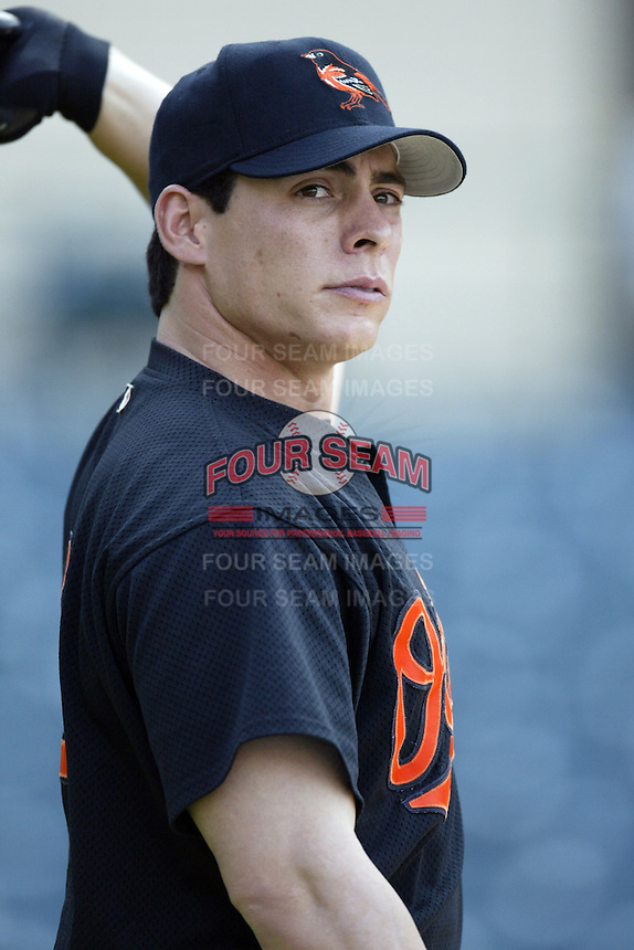 Marty Cordova of the Baltimore Orioles before a 2002 MLB season game against the Los Angeles Angels at Angel Stadium, in Los Angeles, California. (Larry Goren/Four Seam Images)