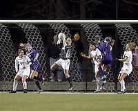 "Boston College goalkeeper Jillian Mastroianni (30) grabs a corner kick. In overtime, Boston College defeated University of Washington, 1-0, in NCAA tournament ""Elite 8"" match at Newton Soccer Field, Newton, MA, on November 27, 2010."