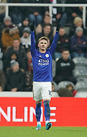 1st January 2020; St James Park, Newcastle, Tyne and Wear, England; English Premier League Football, Newcastle United versus Leicester City; James Maddison of Leicester City acknowledges the Leicester fans after scoring in the 39th minute to make it 0-2 - Strictly Editorial Use Only. No use with unauthorized audio, video, data, fixture lists, club/league logos or 'live' services. Online in-match use limited to 120 images, no video emulation. No use in betting, games or single club/league/player publications