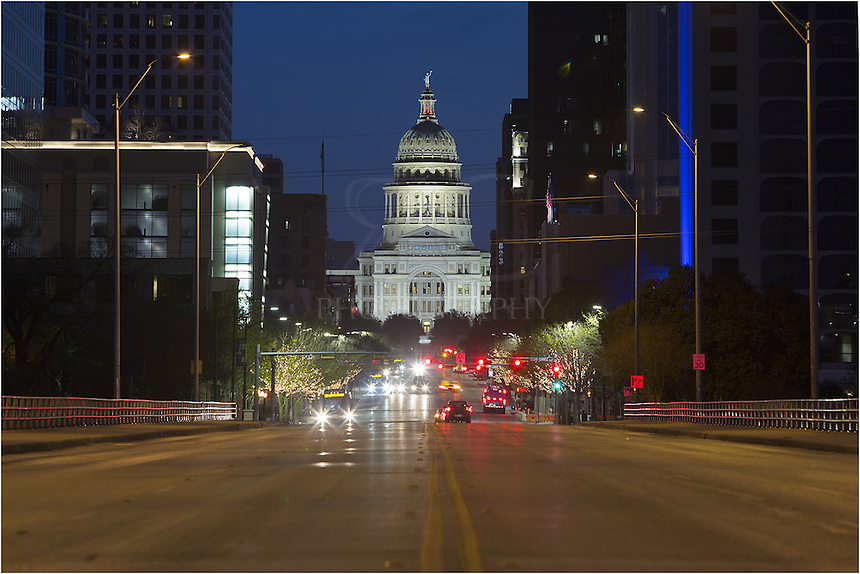 Before the first light of day, this photograph of the state capitol in Austin, Texas, comes from the middle of Congress Avenue. Looking north, I had to be mindful of the traffic in both directions. Yikes!