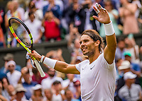 London, England, 8 July, 2019, Tennis,  Wimbledon, Men's singles: Rafael Nadal (ESP)<br /> Photo: Henk Koster/tennisimages.com