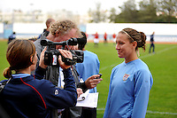 US Women's National Team forward Lauren Cheney talks to the media after scoring the game willing goal vs Iceland at at game in Vila Real Sto. Antonio, Portugal durin the 2010 Algarve Cup.