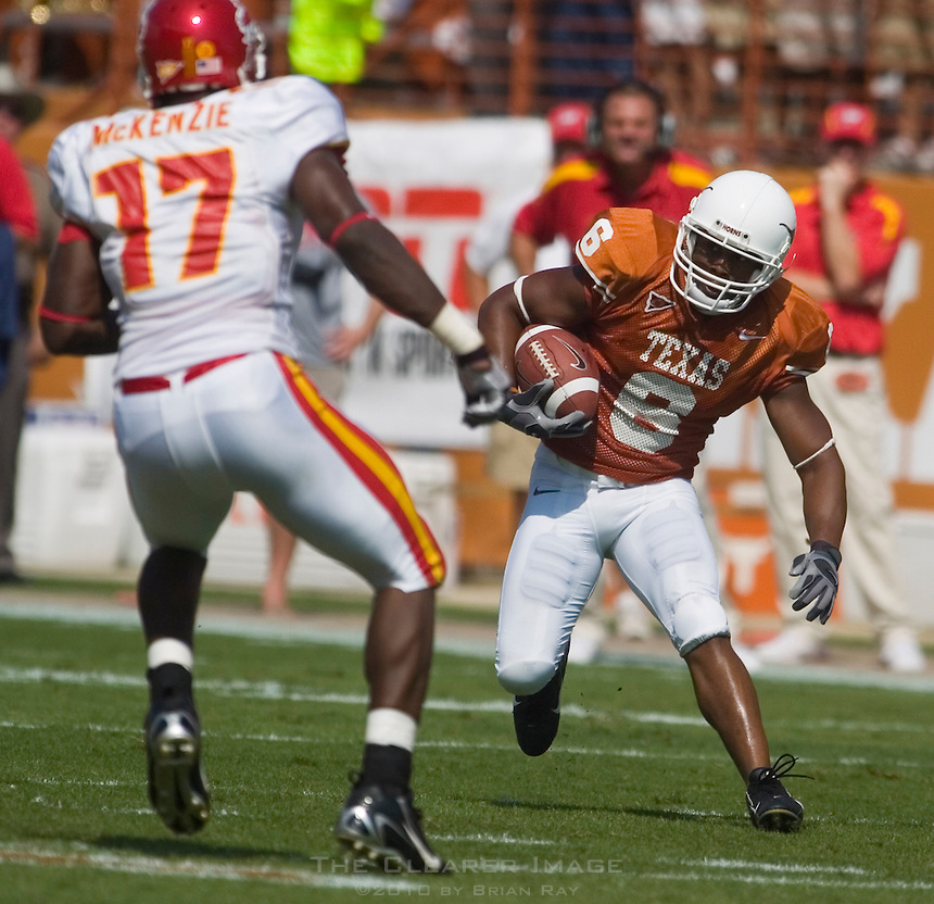 23 September 2006: Texas receiver Quan Cosby (#6) dodges Iowa State defender Tyrone McKenzie (#17) during the Longhorns 37-14 victory over the Iowa State Cyclones at Darrell K Royal Memorial Stadium in Austin, TX.
