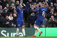 Eden Hazard celebrates scoring Chelsea's third goal with Ross Barkley during Chelsea vs Huddersfield Town, Premier League Football at Stamford Bridge on 2nd February 2019