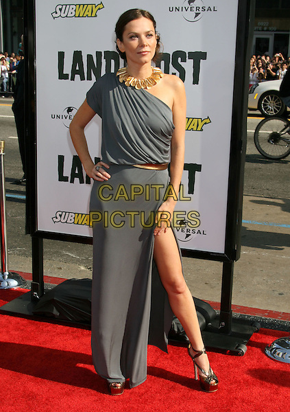 "ANNA FRIEL.""Land Of The Lost"" Los Angeles Premiere held at Grauman's Chinese Theatre, Hollywood, CA, USA..May 30th, 2009.full length grey gray dress one shoulder slit split hand on hip brown bronze platform shoes necklace .CAP/ADM/MJ.©Michael Jade/AdMedia/Capital Pictures."