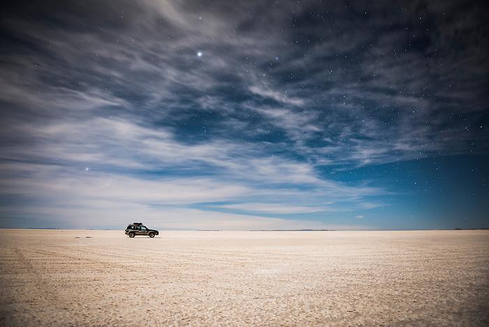 Night time driving on Uyuni Salt Flats (Salar de Uyuni), Uyuni, Bolivia