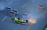 Nov. 1, 2009; Talladega, AL, USA; NASCAR Sprint Cup Series driver Mark Martin flips over during the Amp Energy 500 at the Talladega Superspeedway. Mandatory Credit: Mark J. Rebilas-