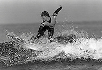 Pix:Michael Steele/SWpix...Surfing, Newquay. 1986...COPYRIGHT PICTURE>>SIMON WILKINSON..A Surfer at Newquay.