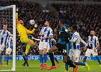 West Ham United's attempt at a goal hits the post and is cleared by Brighton & Hove Albion's David Button <br /> <br /> Photographer David Horton/CameraSport<br /> <br /> Emirates FA Cup Fourth Round - Brighton and Hove Albion v West Bromwich Albion - Saturday 26th January 2019 - The Amex Stadium - Brighton<br />  <br /> World Copyright © 2019 CameraSport. All rights reserved. 43 Linden Ave. Countesthorpe. Leicester. England. LE8 5PG - Tel: +44 (0) 116 277 4147 - admin@camerasport.com - www.camerasport.com