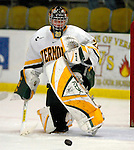 5 January 2007: University of Vermont goaltender Joe Fallon (29) from Bemidji, MN, warms up prior to a Hockey East matchup against the University of New Hampshire Wildcats at Gutterson Fieldhouse in Burlington, Vermont. The UNH Wildcats defeated the UVM Catamounts 7-1 in front of a record setting 48th consecutive sellout at &quot;the Gut&quot;...Mandatory Photo Credit: Ed Wolfstein Photo.<br />