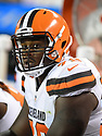 CLEVELAND, OH - AUGUST 18, 2016: Offensive lineman Shon Coleman #72 of the Cleveland Browns watches the action from the sideline in the third quarter of a preseason game on August 18, 2016 against the Atlanta Falcons at FirstEnergy Stadium in Cleveland, Ohio. Atlanta won 24-13. (Photo by: 2016 Nick Cammett/Diamond Images) *** Local Caption *** Shon Coleman