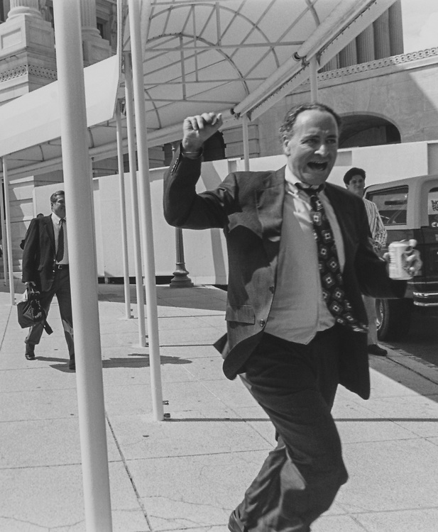 Rep. Chuck Schumer, D-N.Y., as he leaves the Capitol Hill for summer recess on Aug. 4, 1995. (Photo by Maureen Keating/CQ Roll Call via Getty Images)