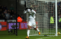 Saturday 19 January 2013<br /> Pictured: Jonathan de Guzman of Swansea celebrating his second goal.<br /> Re: Barclay's Premier League, Swansea City FC v Stoke City at the Liberty Stadium, south Wales.