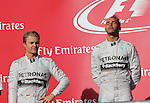 Formula 1 United States Grand Prix 2014, 31.10.-02.11.14<br /> Sieger/Winner Lewis Hamilton (GB#44), Mercedes AMG Petronas F1 Team, 2.Platz/Place Nico Rosberg(GER#6), Mercedes AMG Petronas F1 Team<br /> Foto &copy; nordphoto /  Bratic