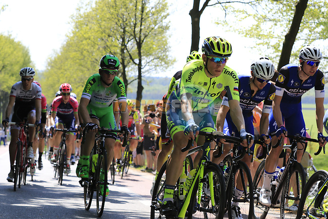 The peloton including Rafal Mijka (POL) Tinkoff team at Deelen during Stage 2 of the 2016 Giro d'Italia running 190km from Arnhem to Nijmegen, The Nethrerlands. 7th May 2016.<br /> Picture: Eoin Clarke | Newsfile<br /> <br /> <br /> All photos usage must carry mandatory copyright credit (&copy; Newsfile | Eoin Clarke)