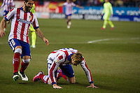Atletico de Madrid´s Fernando Torres and Arda Turan during 2014-15 Spanish King Cup match between Atletico de Madrid and Barcelona at Vicente Calderon stadium in Madrid, Spain. January 28, 2015. (ALTERPHOTOS/Luis Fernandez) /nortephoto.com<br />
