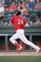Left fielder Tyler Dearden (24) of the Greenville Drive bats in a game against the Rome Braves on Friday, June 28, 2019, at Fluor Field at the West End in Greenville, South Carolina. Rome won, 4-3. (Tom Priddy/Four Seam Images)