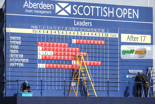 Main Scoreboard on the 18th during the First Round of the 2016 Aberdeen Asset Management Scottish Open, played at Castle Stuart Golf Club, Inverness, Scotland. 07/07/2016. Picture: David Lloyd | Golffile.<br /> <br /> All photos usage must carry mandatory copyright credit (&copy; Golffile | David Lloyd)