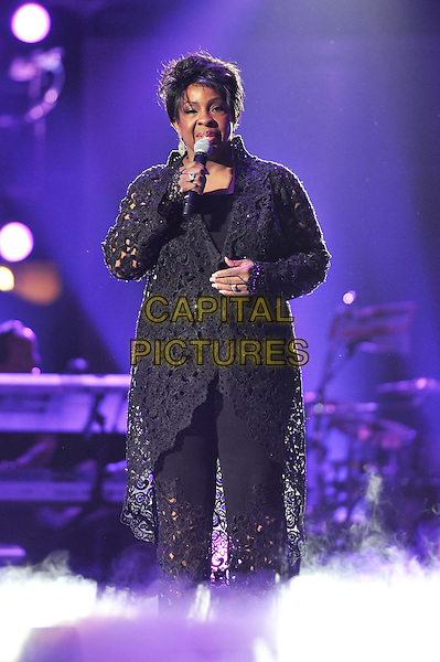 Gladys Knight.Michael Forever Tribute Concert at The Millenium Stadium, Cardiff, Wales, UK 8th October 2011.performing live in on stage music gig full length black cardigan crochet trousers singing.CAP/MAR.© Martin Harris/Capital Pictures.