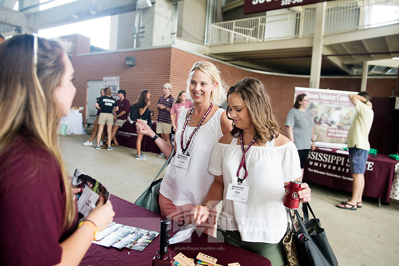 Orientation for incoming students and their parents: Student Activities Fair under Davis Wade Stadium.<br />  (photo by Megan Bean / &copy; Mississippi State University)