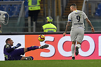 Patrick Robin Olsen of AS Roma saves on Mauro Icardi of Internazionale during the Serie A 2018/2019 football match between AS Roma and FC Internazionale at stadio Olimpico, Roma, December, 2, 2018 <br />  Foto Andrea Staccioli / Insidefoto