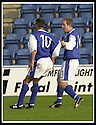 26/10/02       Collect Pic : James Stewart                     .File Name : stewart-qots v ross county 04.DEREK LYLE (10) CELEBRATES WITH JOE MCALPINE AFTER SCORING THE FIRST GOAL..........James Stewart Photo Agency, 19 Carronlea Drive, Falkirk. FK2 8DN      Vat Reg No. 607 6932 25.Office : +44 (0)1324 570906     .Mobile : + 44 (0)7721 416997.Fax     :  +44 (0)1324 570906.E-mail : jim@jspa.co.uk.If you require further information then contact Jim Stewart on any of the numbers above.........