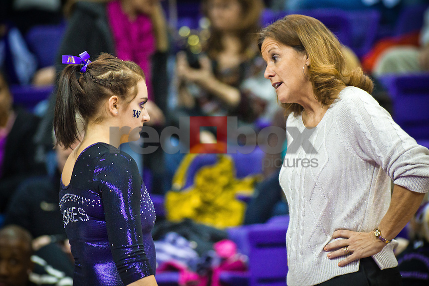 Aliza Vaccher, Joanne Bowers - Head Coach...Washington Huskies gymnastics vs. the UCLA Bruins at Alaska Airlines Arena at Hec Edmundson Pavilion in Seattle on Friday, January 27, 2012. (Photo by Dan DeLong/Red Box Pictures)