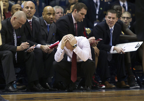 February 24, 2013:  Cincinnati head coach Mick Cronin reacts to a call during NCAA Basketball game action between the Notre Dame Fighting Irish and the Cincinnati Bearcats at Purcell Pavilion at the Joyce Center in South Bend, Indiana.  Notre Dame defeated Cincinnati 62-41.
