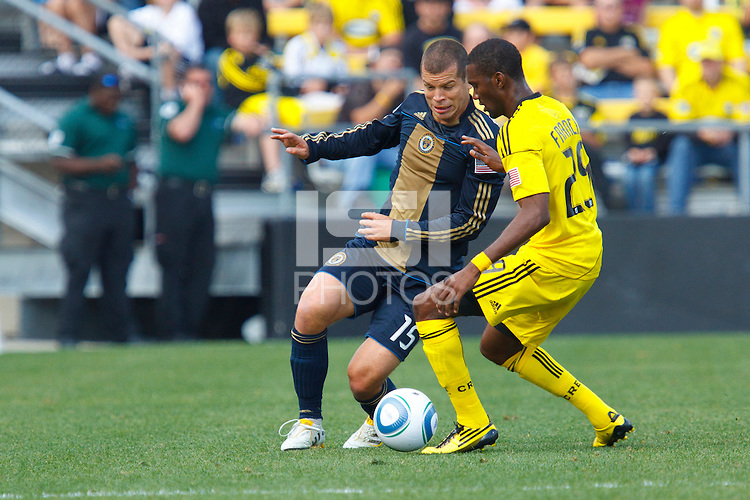 24 OCTOBER 2010:  Philadelphia Union forward Alejandro Moreno (15) and Columbus Crew defender Shaun Francis (29) during MLS soccer game at Crew Stadium in Columbus, Ohio on August 28, 2010.