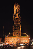 BRUGES, BELGIUM - FEBRUARY 06 : A general view of the 'Beffroi' (Belfort) by night on February 06, 2009 in Bruges, Western Flanders, Belgium. The 83m tall belfry was built in 1240 and listed by the UNESCO as World Heritage Site. (Photo by Manuel Cohen)