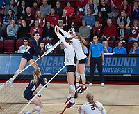 STANFORD, CA - December 1, 2018: Holly Campbell, Jenna Gray at Maples Pavilion. The Stanford Cardinal defeated Loyola Marymount 25-20, 25-15, 25-17 in the second round of the NCAA tournament.