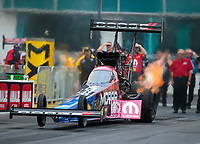 Mar 16, 2019; Gainesville, FL, USA; NHRA top fuel driver Leah Pritchett during qualifying for the Gatornationals at Gainesville Raceway. Mandatory Credit: Mark J. Rebilas-USA TODAY Sports