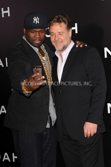 WWW.ACEPIXS.COM<br /> March 26, 2014 New York City<br /> <br /> Curtis Jackson and Russell Crowe attending the 'Noah' New York premiere at Ziegfeld Theatre on March 26, 2014 in New York City.<br /> <br /> Please byline: Kristin Callahan<br /> <br /> ACEPIXS.COM<br /> <br /> Tel: (212) 243 8787 or (646) 769 0430<br /> e-mail: info@acepixs.com<br /> web: http://www.acepixs.com