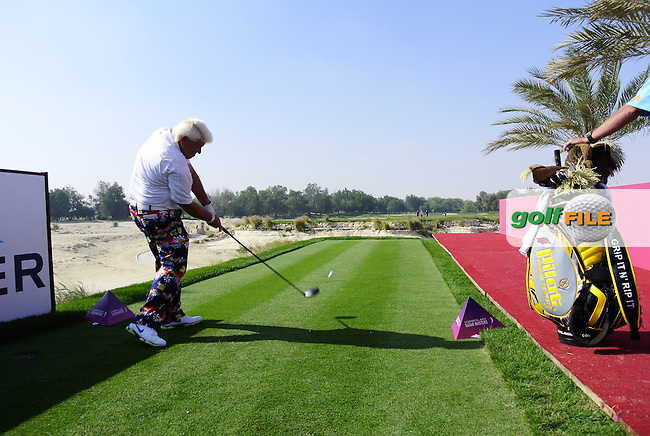 John Daly (USA) in action during Tuesday's Pro-Am of the Commercial Bank Qatar Masters 2014 held at Doha Golf Club, Doha, Qatar. 21st January 2014.<br /> Picture: Eoin Clarke www.golffile.ie