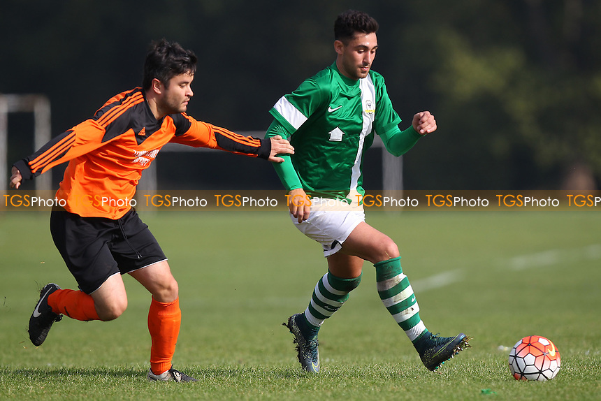 Tommy Flynns (orange) vs FC BKT, Hackney & Leyton Sunday League Jack Walpole Cup Football at Hackney Marshes, Hackney, England on 11/10/2015