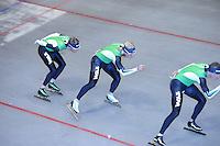SCHAATSEN: HEERENVEEN: IJsstadion Thialf, 03-06-2013, training merkenteams op zomerijs, Christijn Groeneveld, Koen Verweij, ©foto Martin de Jong