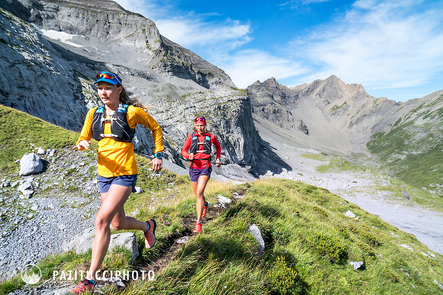 Trail running in the Dent du Midi area above Champéry, Switzerland